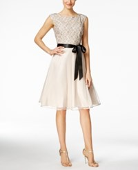 Si Fashions Sl Lace Tulle Fit And Flare Dress Champagne