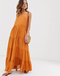 Warehouse Tiered Maxi Dress In Rust