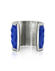 Avril Palladium Plated Brass And Electric Blue Viscose Bangle