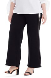 Universal Standard Plus Size For J.Crew Wide Leg Ponte Pants Black White