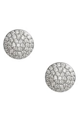 Nordstrom Pave Disc Stud Earrings Clear Silver
