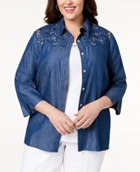 Alfred Dunner Plus Size Sun City Layered Look Embroidered Denim Shirt Light Denim
