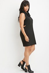 Forever 21 Plus Size Fold Over Turtleneck Shift Dress Black