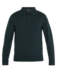 A.P.C. Ricky Long Sleeved Wool Polo Shirt Dark Green