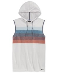 Ocean Current Men's Nautical Stripe Hooded Muscle T Shirt White