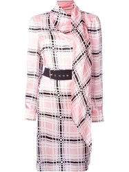 Emanuel Ungaro Belted Dress Pink And Purple
