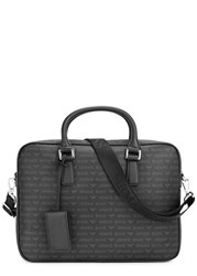 Armani Jeans Black Monogrammed Faux Leather Briefcase