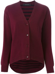 Cedric Charlier Cedric Charlier Striped Back V Neck Cardigan Red