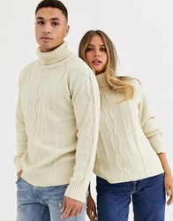 Another Influence Unisex Roll Neck Cable Sweater In Oatmeal Cream