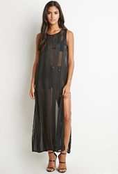Forever 21 Shadow Striped High Slit Maxi Dress Black