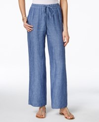 Charter Club Linen Chambray Drawstring Pants Only At Macy's Blue Ocean