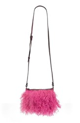 Patricia Nash Small Paulo Genuine Shearling Crossbody Bag Pink