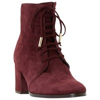 Dune Olita Lace Up Ankle Boots Burgundy