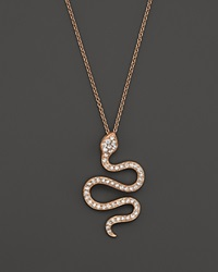 Bloomingdale's Diamond Snake Pendant Necklace In 14K Rose Gold .50 Ct. T.W. Pink