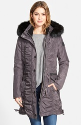 Laundry By Shelli Segal Ruched Parka With Detachable Faux Fur Trim Hood And Liner Regular And Petite Slate
