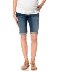 A Pea In The Pod Cuffed Denim Bermuda Maternity Shorts