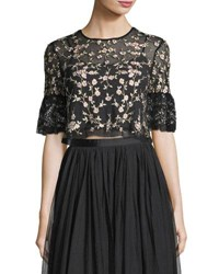 Needle And Thread Climbing Blossom Floral Embroidered Tulle Top Black
