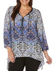 Rafaella Plus Mysterious Garden Print Peasant Top Grey