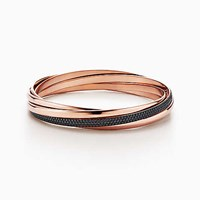 Tiffany And Co. Paloma's Melody Five Band Bangle In 18K Rose Gold With Black Spinels Medium.