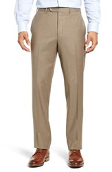 John W. Nordstrom Torino Traditional Fit Flat Front Solid Wool And Cashmere Trousers Taupe