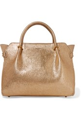 Nina Ricci Metallic Textured Leather And Suede Tote Gold