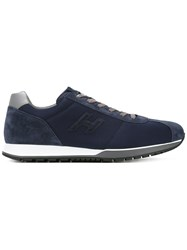 Hogan Lace Up Sneakers Men Leather Suede Polyamide Rubber 9 Blue