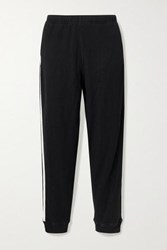 Bassike Net Sustain Canvas Trimmed Waffle Knit Cotton Track Pants Black