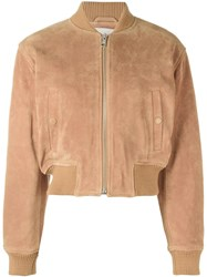 See By Chloe Cropped Bomber Jacket Brown