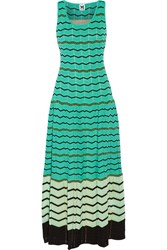 M Missoni Crochet Knit Cotton Blend Maxi Dress Blue