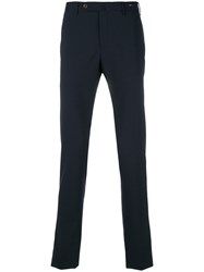 Pt01 Slim Fit Tailored Trousers Polyester Spandex Elastane Wool Blue