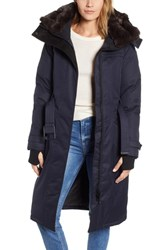 Nobis She Ra Genuine Coyote And Rabbit Fur Trim Down Parka Navy