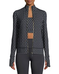 Kate Spade Polka Dot Scallop Jacket Black White