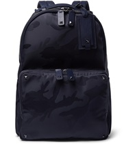 Valentino Leather Trimmed Camouflage Print Canvas Backpack Blue