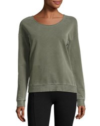 Three Dots Scoop Neck Cotton Blend Sweatshirt Black