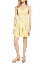Soprano Women's Cross Back Fit And Flare Dress Wax Yellow