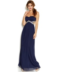 Trixxi Juniors' Strapless Cut Out Sequined Gown Navy
