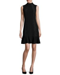 Rebecca Taylor Crepe Lace Trim Cocktail Dress Black