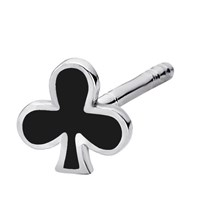 Intua 14 Karat Mini Club Earring Stud14k White Gold With Black Enamel
