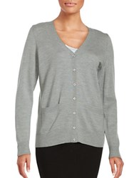 Lord And Taylor Petite Merino Wool Button Front Cardigan Platinum Heather