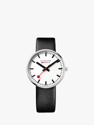 Mondaine Msx.4211B.Lb Unisex Sbb Classic Leather Strap Watch Black White