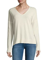 Leo And Sage Double V Neck Cashmere Sweater Heather Grey