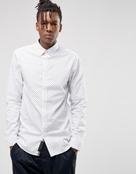 Produkt Slim Fit Shirt With Button Down Collar In Ditsy Print White