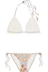 Zimmermann Pavilion Crocheted Cotton And Floral Print Bikini Off White