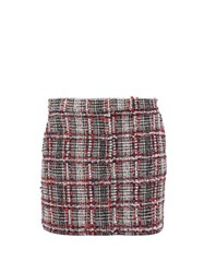 Thom Browne Prince Of Wales Checked Tweed Mini Skirt Red Multi