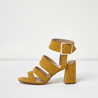 River Island Womens Yellow Rocker Stud Block Heel Sandals