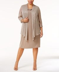 Connected Plus Size Metallic Layered Look Dress Taupe