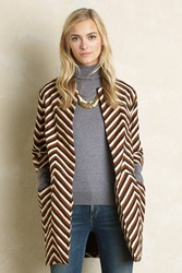 Eva Franco Chevron Lightweight Coat Brown Motif