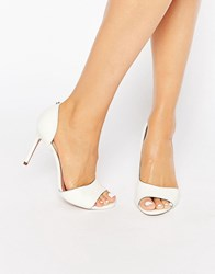 Ted Baker Caawmi White Leather Cut Out Court Shoe Cream Box Leather