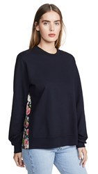 Clu Pullover With Floral Panel Navy