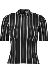 Opening Ceremony Striped Stretch Knit Top Black